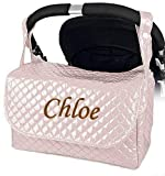 Danielstore - Bolso Plastificado carrito bebe personalizado con nombre bordado (nombre a elegir) Color rosa