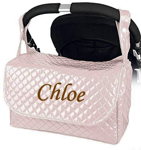 Bolso Plastificado carrito bebe personalizado con nombre bordado Color rosa