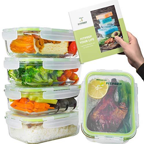 FITPREP® - Glas Meal Prep Frischhaltedosen 10 teiliges Set (5 Vorratsdosen + 5 Deckel) 840ml, Praktische Lebensmittelbehälter inkl. schönem Rezeptheft