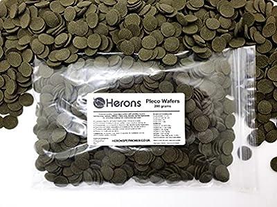 HERONS Pleco Wafers [200g] - Spirulina Algae Wafers - Fish Food For All Bottom Feeders - For Plecos, Catfish, Bristlenose