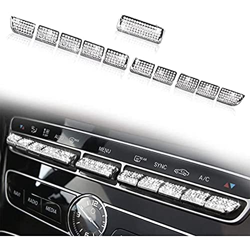 YFBB Tapas de Botones de Cristal AC de 11 Piezas, para Mercedes Benz Bling AMG W205 X253 C Clase GLC, Cubiertas de Interruptor de Control de Aire Acondicionado, calcomanías
