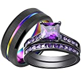 SHELOVES Black Plated Couples Women Purple Wedding Rings Sets His and Hers Men Tungsten Wedding Band 8+9