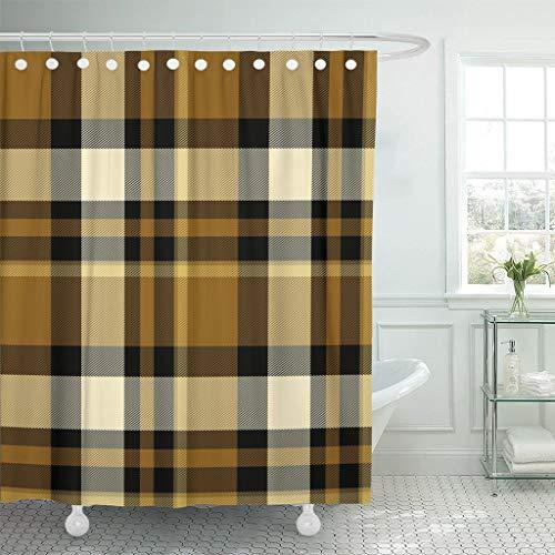 AIDEMEI Brown Check Tartan Plaid Pattern Scottish Family Highland Kilt Bathroom Curtains Waterproof Polyester Fabric Set 70.8X70.8 Inch