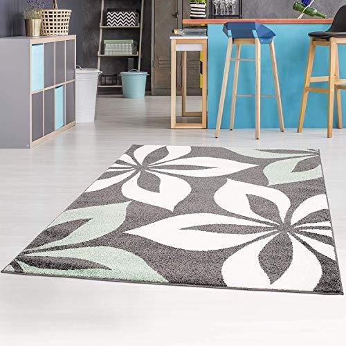 carpet city Teppich mit Blumen Moda Modern Flachflor in Mintgrün für Wohnzimmer, Kinderzimmer; Größe: 190x280 cm