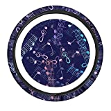 UNICEU Colorful Musical Note Steering Wheel Cover for Music Lovers, Musicians or Music Teachers,Universal Fit Most Vehicles Automotive Car Wrap Cover