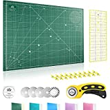 Lange & König Kit de Cuter Rotativo en 3 diferentes Tamaños [A1, A2, A3] incluye Base de Corte, Cortador Rotativo, 5 Cuchillas de Repuesto, Regla de Patchwork + 20 Pinzas Costura (Verde, A2)