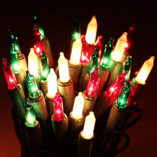 Christmas String Lights - 24ft 100 Incandescent Multi Color Mini Bulbs Lights,Green&White&Red Lighting Decor for Outdoor&Indoor Use, Fairy Garden, Yard, Home, Party, Holiday, Halloween Decoration