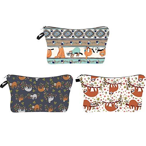 JunNeng 3PCS Small Cosmetic Bag for Handbag, Cute Makeup Bag Pouch Cosmetic Beauty Bag Travel Toiletry Wash Bag Cartoon Pattern Pencil Bag Coin Purse Zipper Pouch