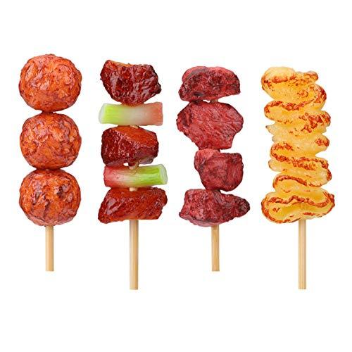 STOBOK Barbecue Roastbeef Spielzeug Realistische Lebensmittel Spielzeug Rindfleisch Spielzeug für Kinder Lernspielzeug, 4 Stück (Gemischter Stil)
