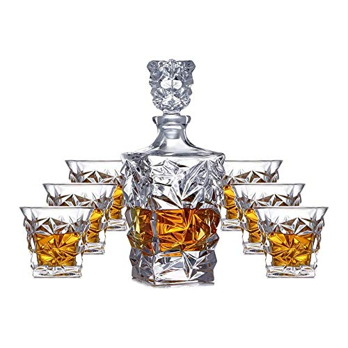 zyy Decanters Mit, Belüfter Whisky/Brandy/Sherry Dekanter, Bleikristallglas Whisky Karaffen, Spirituosen-Flasche Mit Wine Stoppers, Tag Geschenke Für Ehemänner/Dad (7-Teilig),Clear