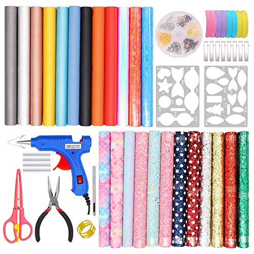 Leather Earring Making Kit, 24 Pieces 7 Styles Faux Leather Sheets with Complete DIY Supplies for Making Earrings/Hair Bows/Leather Crafts