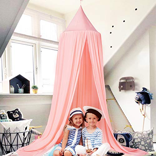 Princess Bed Canopy for Kids Baby Bed, Round Dome Cotton Net Nursery Play Tent Hanging House Decoration for Baby Crib Nook Castle Game Tent Nursery Play Reading Room