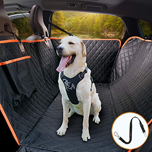 iBuddy Dog Car Seat Covers 100% Waterproof, Dog Seat Cover with Side Flaps from Scratching, Pet Seat Cover for Back Seat of Car/SUV/Truck Machine Washable