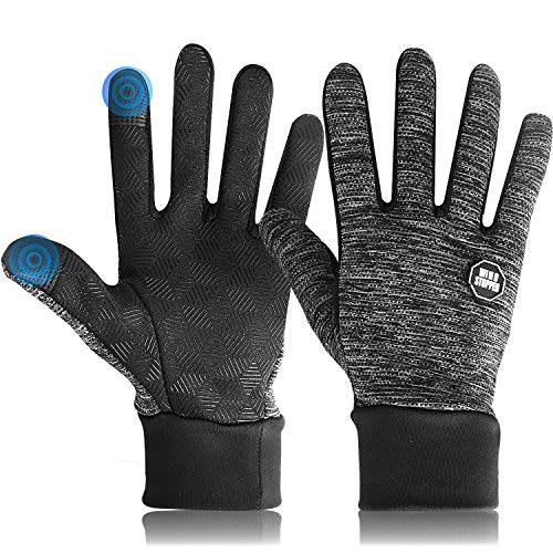 DmgicPro Mens Winter Gloves Touch Screen, Cycling Gloves Anti-slip for Smartphone Texting, Cold Weather Gloves for Riding Running Working Driving, Crystal Velvet lining, 3 Color, X_Large