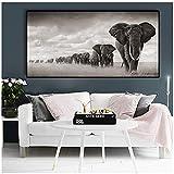 Elefantes de África negra Animales salvajes Pintura de lienzo Carteles e impresiones Imágenes de arte de pared para sala de estar -60x120cmx1pcs- Sin marco