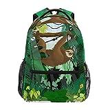 Mochila para el colegio de plantas tropicales de la marca LUCKYEAH Sloth para adolescentes y niñas, para viajes, camping, gimnasio, senderismo
