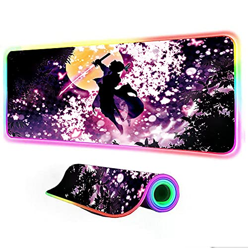 Mouse Pads Demon Slayer Pink Cherry Blossom Keyboard Desk Mat RGB Large Mouse Pad Gamer Big Computer LED Backlight Gaming Pad 24x12 inch