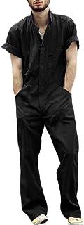 huateng Men's Casual Fashion Overalls Jumpsuit Short Sleeve Zipper Lapel Collar One Piece Romper Suit