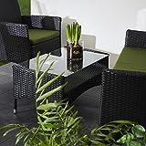 Ultranatura Rattan Set mit Glastisch, schwarz / grün - 7