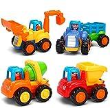 FancyWhoop Konstruktionsfahrzeuge Baby Spielzeugauto Spielsachen Baufahrzeuge für Kinder 18 Monate, Spielzeug Auto für Kleinkind ab 1+ Jahre, 4 in 1 Satz - Traktor, Bulldozer, Kipper & Zementmischer