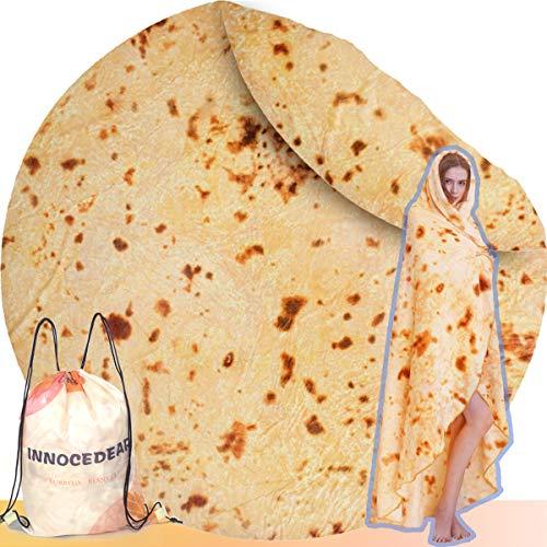 Innocedear Burritos - Manta de tortilla para tortilla, la mejor manta redonda para adultos o niños