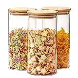 Aitsite Botes para Alimentos Vidrio 1400ml Set de 3Pcs Tarro de Vidrio Tarros de Cristal con Tapa Bambu Recipiente de Botes Vidrio para Almacenar Cereales, Pasta, Arroz ect