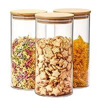 aitsite 3pcs barattoli in vetro 1400ml barattolo cucina contenitori barattoli con coperchio di bambù contenitore ermetico per pasta caffè,barattoli e contenitori