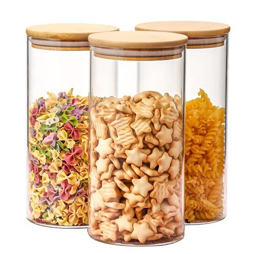 Aitsite 3er Set Vorratsdosen 1.4L Vorratsgläser Set Glasbehälter mit Deckel Luftdicht Vorratsdosen Glas Aufbewahrung Küche für Gewürze/Bohnen/Gebäck