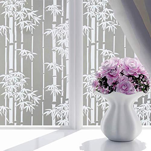 AMAZING1 Dekorative Sichtschutz-Fensterfolie, Milchglasfolie, Buntglas-Fensteraufkleber mit Kleber, selbstklebender Glasaufkleber, weißer Bambus, 80 x 190 cm
