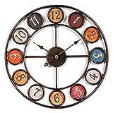 Jo332Bertram 60cm Orologi da Parete, Stile Vintage Orologio da Muro Silenzioso in Metallo per Decorazione Cucina, Soggiorno, Camera