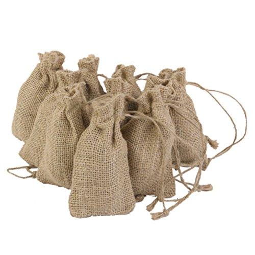 WINOMO Della tela di iuta con coulisse borse 10pz per i regali di favore di partito di nozze