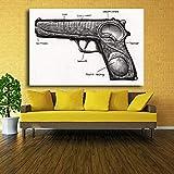 Danjiao Venta Caliente Moderno Abstracto Diseño De Pistola Arte De La Pared Pintura Al Óleo Impresa En Lienzo (Sin Marco) Sala De Estar Decor 60x90cm