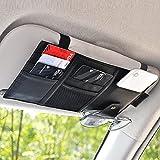 EcoNour Car Sun Visor Organizer | Multi-Pocket Car Organizer | Storage Pocket Pouch | Sun Visor Case Bag | Auto Interior Accessories | Cards, Pens, Sunglasses, and Document Holder (Black)