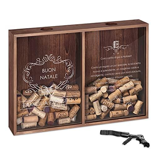 Maverton Raccogli tappi di sughero o birra - con stampa personalizzata - con due scomparti - cavatappi con un coltellino - scatola porta tappi - idee regalo per Natale - Natale