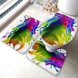 Juego de alfombras de tocador Salpicaduras de pintura Diseño de tinta colorida del arco iris Juegos de alfombrillas de baño antideslizantes, cubierta de almohadilla de baño Alfombrilla de baño y tap