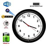 SDETER Hidden Camera, 1080P WiFi Spy Wall Clock Camera Rechargeable Battery Powered Adjustable Lens Wireless Camera Motion Detection Push Alarm Loop Recording for Home Security (Wall Clock Camera)
