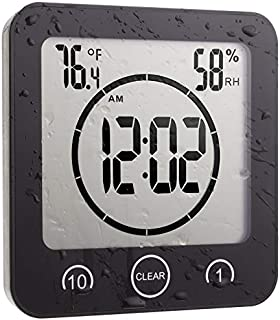 Cirbic Large Digital Shower Clock with one Strong Suction Cup, Stand, Shows Temperature, Humidity and time. Includes Timer and Touch Buttons (Black)