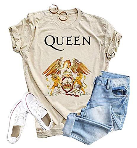 Womens Vintage Queen Shirt Music Concert Tees Summer Short Sleeve Casual Graphic Tees (Beige, M)