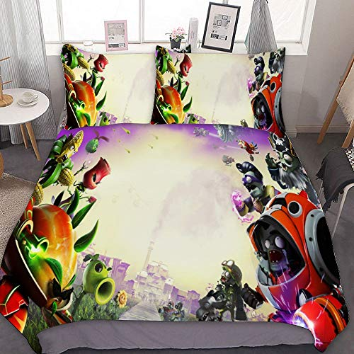 SfeatrutMAT Bedding Duvet Cover 2 Piece Set,Plants Vs. Zombies,(144),Kids Girls Boys Cartoon Bed Set,Twin 55'x79'
