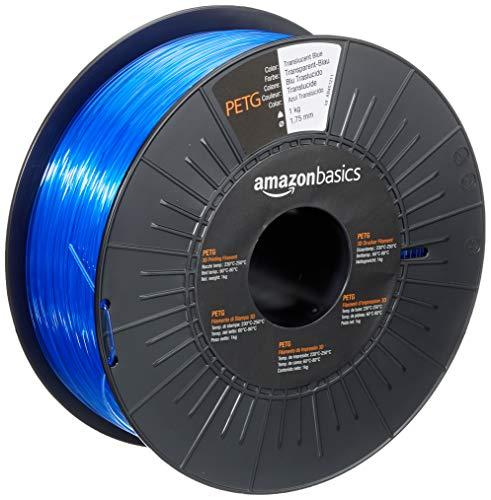 Amazon Basics - Filamento para impresora 3D, tereftalato de polietileno (PETG), 1,75 mm, cinta de 1 kg, azul translúcido