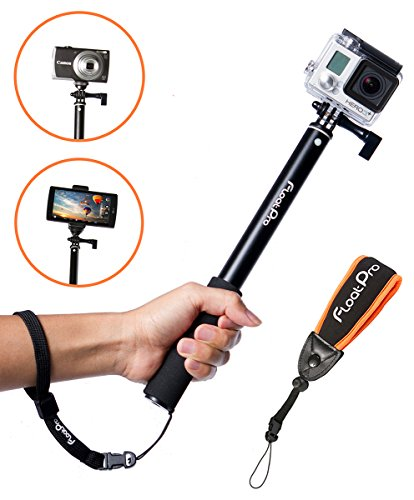 FloatPro Waterproof 3-in-1 Extendable Monopod Selfie Stick with Float Accessories and Wrist Strap...