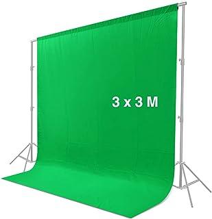 CRAPHY 背景布 緑 3*3M グリーンバック クロマキーグリーン モスリンコットン背景布 厚い 不透明なスタジオ背景スクリーンシート 写真、ビデオ、テレビ撮影用(背景布のみ)