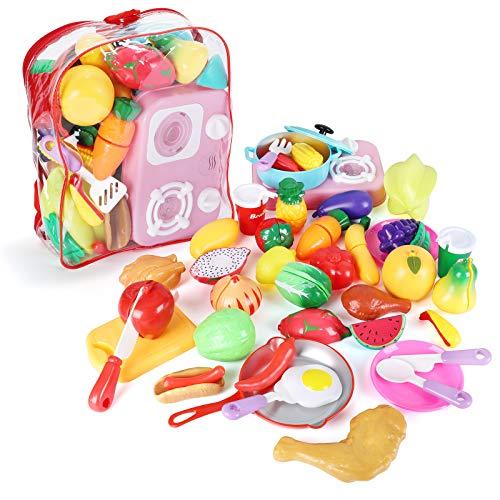 joylink Alimentos de Juguet, 42pcs Cortar Frutas Verduras Comida Cocina Juguete Temprano Educación Juegos para Niños