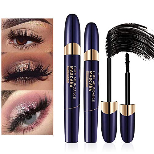 4D Silk Fiber Eyelash Mascara, Fiber Mascara, Mascara Waterproof, Impermeabile Volume Mascara 3D Fiber + Black Lash Mascara, No Glue Safe Alternative To False Lash Extensions