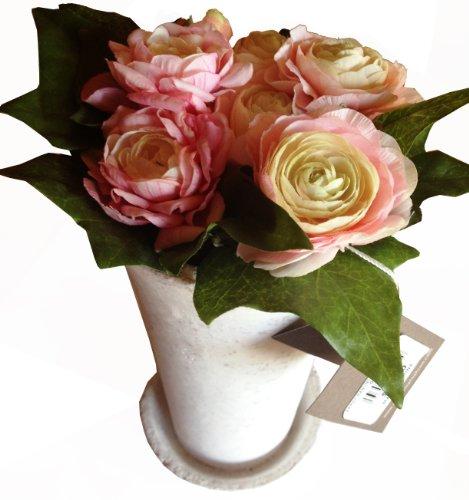 Chanel Hahnenfuß und Efeu, permanent pflanzlich, in weißer Steinvase
