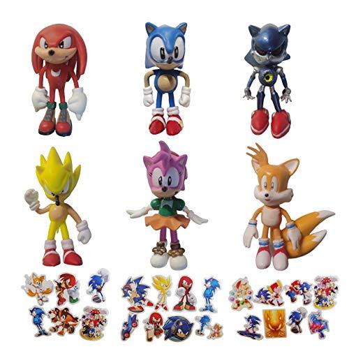 SONIC favoritos 6 unids/lote Sonic the Hedgehog juego de caracteresfiesta adecuados para proveedores de fiestas sonic cumpleaños