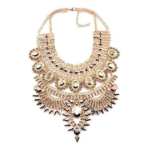 BYZ Collane con colletto con bretelle in cristallo color oro dorato Lkjh