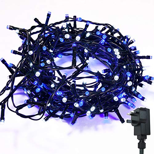 Fairy Lights WISD 200 LED 13M Low Voltage Xmas Lights Indoor/Outdoor Use, String Lights Mains with 8 Effects and Memory, Christmas Lights Decor for Xmas Tree Garden Wedding Decorations (Blue + White)