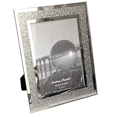 Amlong Crystal Sparkle Mirror Glass Picture Frames 5 x 7