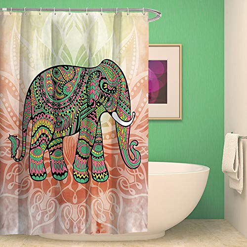 QWESD Indian Colourful Elephant Bedruckte wasserdichte Polyester Duschvorhang Coral Velvet Bad Set 4 STK 200 * 210cm